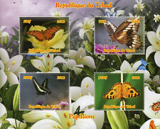 Chad 2012 MNH Butterflies Butterfly 4v M/S Papillons Insects Stamps