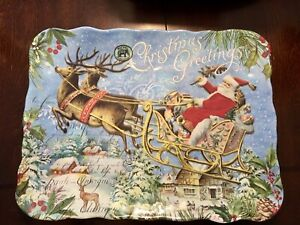 "NEW! MICHEL DESIGN WORKS CHRISTMAS Joy SANTA SLEIGH ReindeeR Tray SERVER 15""x12"""