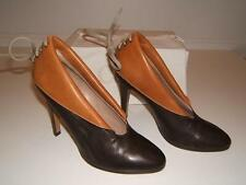 CHLOE 37 7 SEXY Booties LEATHER Brown Lace Up Boots Womens Designer Heels Shoes