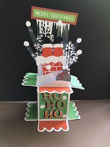 SANTA DOWN THE SNOWY CHIMNEY -   3D POP UP BOX CHRISTMAS CARD
