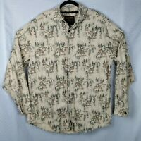Vintage WOOLRICH Button Up Long Sleeve Wolves Mens Sz XL Heavy Flannel Camping