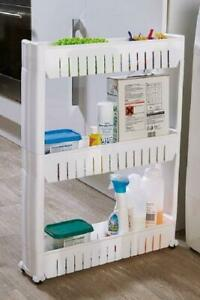 3 Tier Kitchen Space Saving Slim Storage Tower Trolley Plastic Shelf Rack Wheels