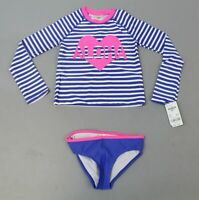 OshKosh B'Gosh Girl's Striped Swim Set SV3 Blue Size 4/5 NWT