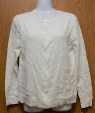 Womens Bright White Karen Scott Button Front Sweater Size PXL NWT NEW