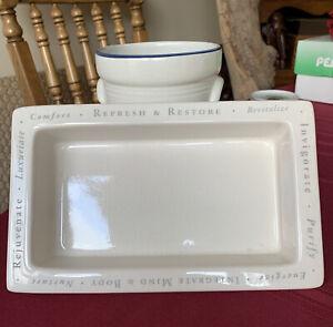 """Bath & Body Works Ceramic Bathroom Vanity Tray Beige 10"""" x 6"""" x 1 1/2"""""""