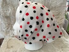Vintage Head Scarf White with Red and Black Polka Dots Triangle