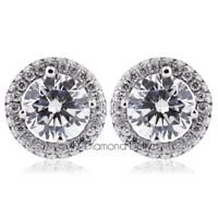 1.45ct tw F-SI2 Round Earth Mined Certified Diamonds 18K Gold Halo Stud Earrings
