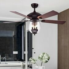 Modern 52'' Pull Chain Control 3-Light Ceiling Fan with Glass Shade&4 Wood Blade