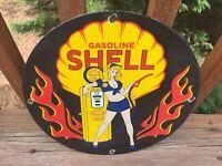 """Vintage Shell Gasoline Heavy Porcelain Sign 12"""" Gas & Oil Sign"""