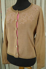 "DAY BIRGER ET MIKKELSEN Beaded Cardigan 38"" Bust L Seed Bead Sweater Knitwear"