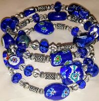 New Memory Wire Wrapped Bracelet With Blue and Silver Toned Glass Beads Handmade