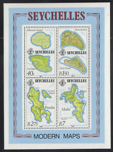 SEYCHELLES SOUVENIR SHEET #490a, 1982 MODERN MAPS, NH