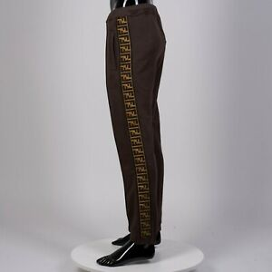 FENDI 1190$ Track Pants With FF Motif Side Band In Brown Cotton, Wool & Cashmere