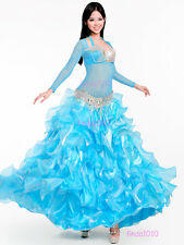 Belly Dance Costume 4 Pics Full Set Blouse Top&Bra&Belt&Skirt 34B/C 36B/C 38B/C