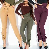 LA Damen Hose High-Waist Röhrenhose Stoffhose Paperbag Pants Hose XS S M L