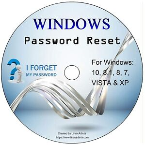 Windows Password Recovery Reset Remove Recover CD Disc - XP, VISTA, 7, 8, 10.