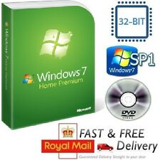 Windows 7 Home Premium 32-bit SP1 Full Version & License COA Product Key on DVD