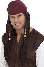 Pirate Dreadlocks Bandana Plaits Wig Jack Sparrow Caribbean Mens Fancy Dress Hat