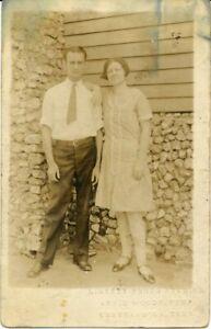 Vtg Postcard Photo RPPC Man & Woman Couple Liberty Studio Woods Chattanooga TN