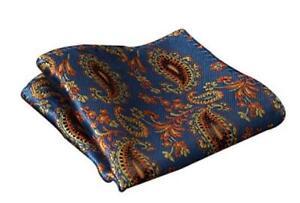 Blue and Orange Floral Silk Pocket Square Handmade Hisdern Handkerchief