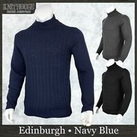 Men's Cable Knit Jumper Navy Blue High Neck Funnel Fisherman Sweater Knitwear