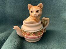 "Harmony Kingdom ""Braganza"" Cat in a Teapot Figurine Box"