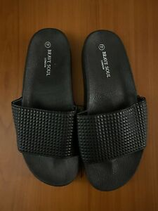 Brave Soul London Mens Ruthin Black Sliders / Sandals Shoes - Size 10 NEW