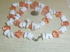 24in chunky peach and white lucite beads necklace jewelry N143