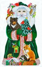 "Needlepoint Handpainted Amanda Lawford CHRISTMAS Woodland Santa 15"""