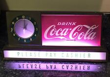 Retro Vtg 1950s Original COCA COLA COKE Drug Store Advertising LIGHT UP CLOCK