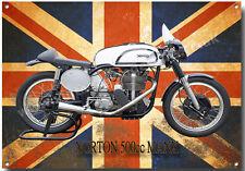 NORTON MANX 500CC MOTORCYCLE METAL SIGN.ISLE OF MAN TT ROAD RACES.VINTAGE NORTON