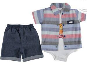 NEU ♥ Jungen Baby 3-Teile Set: Kurze Hose, Body, Hemd Gr.: 62, 68