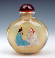 Peking Glass Inside *Figurines Chat* Reverse Hand Painted Snuff Bottle #11201511