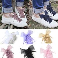 Fashion Shoelaces Flat Silk Satin Ribbon Sport Shoes Laces Sneakers Shoestrings
