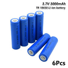 6Pcs 18650 Battery 3.7V 3000mAh Li-ion Rechargeable Cell For Headlamp Torch 7AA