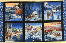 """Snowy Country Christmas Blocks Quilting Fabric 24"""" Panel  #3205"""