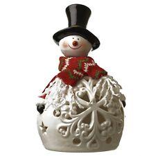 Céramique Décoration De Noël Allumer Bonhomme de neige Ornement avec LED à piles