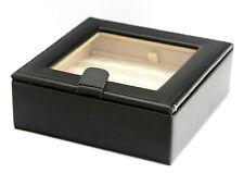 NEW CC by WOLF BLACK LEATHER JEWELRY BOX CUFFLINKS ORGANIZER TRAVEL CASE STORAGE