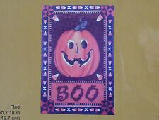 "New 12 x 18"" Halloween Flag Wallhanging ""Boo"" Pumpkin Candy Corn - Was $9.99"