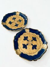 2 Hand Painted Vintage Coasters Dish Blue Gold Made In Italy