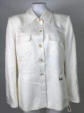 Talbots Jacket Silk Blend Ivory Button Down Lined Size 10