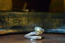 Silver dragon claw ring with pearl