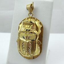 18K Yellow Gold Large Egyptian Scarab Beetle Bug Charm Pendant 5.8gr