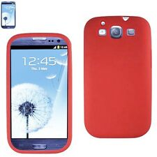 Red Silicone Rubber Skin Cover Case T-Mobile Samsung Galaxy SIII S III 3 T999