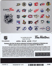 NHL Hockey 30 Team Card TIM HORTONS gift CARD French Carte 0$ balance 2013-14