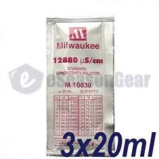 3x 20ml 12880 uS/cm 12.88 EC Calibration Solution milwaukee/m10030/hanna/hi70030