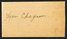 1929 LEON CHAGNON Vintage Baseball Autograph, Died 1953 JSA AUTH!