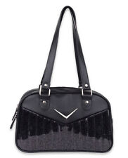 Liquorbrand Chevron Gloss Black Bowler Bag Retro Rockabilly 50s Vintage Handbag