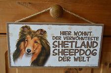 Türschild Tierschild Schild Tafel Holzschild Deko Bild ♥ Shetland Sheepdog Hund
