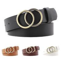 Ceinture en similicuir pour femmes à double anneau, ceinture, ceinture, ceint